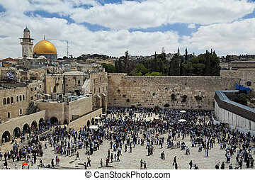A view of Temple Mount in Jerusalem, including the Western Wall and golden Dome of the Rock.