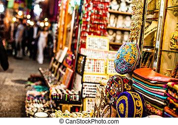 jerusalem, traditionell, gata, israel., marknaden