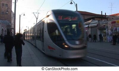 Jerusalem tram 1 - Tram rides on the street of Jerusalem