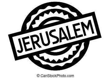 Jerusalem typographic stamp. Typographic sign, badge or logo...