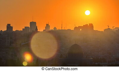 Jerusalem view over the City at sunset timelapse with the Dome of the Rock from the Mount of Olives.