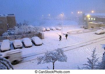 jerusalem, von, white:, schnee, fällt, in, hauptstadt