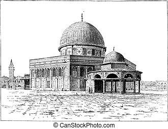 jerusalem, weinlese, omar, moschee, engraving.