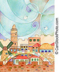Jerusalem With Doves - Watercolor illustration of old...
