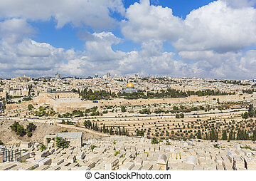 JERUSALEM/ISRAEL - 20 SEPTEMBER 2014: old city of Jerusalem from the heights. 20 september 2014 Jerusalem.