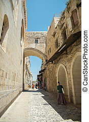 Jerusalem's Old City - the streets of the old city of...