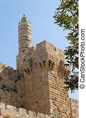 jeruzalem, citadel, toren, oud, david