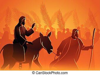jeruzsálem, jézus, jön, király