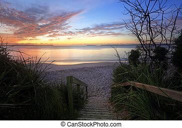 jervis, 浜, オーストラリア, 日の出, 湾, ネルソン