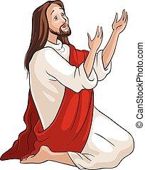 jesús, arrodillar, en, oración