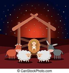 jesús, bebé, en, cuadra, con, sheeps, y, animales