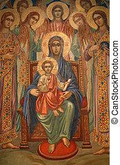 jesús, bebé, virgen maria