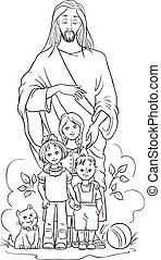 jesús, con, children., colorante, página