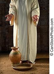 jesús, con, frasco agua, y, cacerola