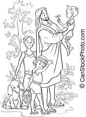 jesús, con, niños, contorneado