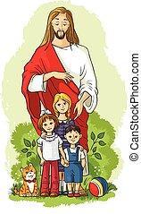 jesús, con, niños