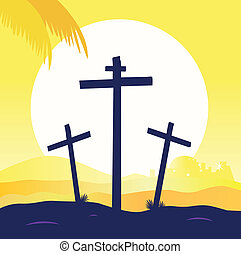 jesús, crucifixión, -, calvary, escena, con, tres, cruces
