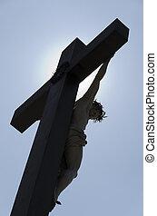 jesús, cruz, contra, el, luz