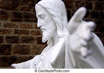 jesús, /, dios, monumento, en, un, iglesia, cementerio