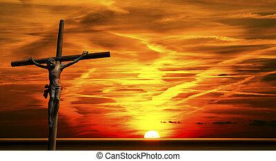 jesús, en, el, cruz, en, ocaso