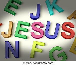 jesús, escrito, en, multicolor, plástico, niños, cartas