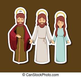 jesús, maría, y, joseph, caricatura, diseño
