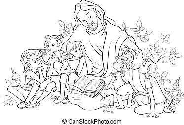 jesús, página, biblia, colorido, lectura, niños