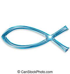 jesús, pez, símbolo, aislado, blanco, plano de fondo