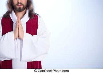 Jesús, poniendo, juntos, Manos