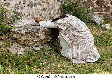 jesús, rezando, desesperado, en, ghetsemane