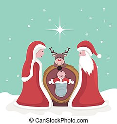 jesús, tarjeta, navidad, nacimiento