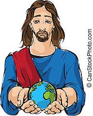 jesús, tenencia, el, mano, planeta, earts
