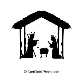 jesús, vector, joseph, alegre, gra, icon., maria, navidad, ...