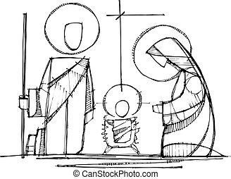jesús, virgen maria, y, santo, joseph, en, natividad