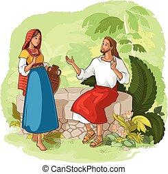 jesús, y, el, samaritan, mujer, en, el, bien