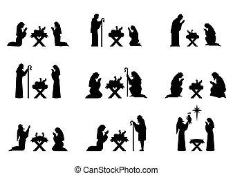 jesús, y, maría, rogar, en, su, rodillas, en, el, manger.