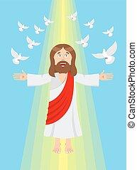 jesús, y, pigeons., ascensión, de, jesús, christ., hijo del dios, en, heaven., resurrección, de, jesús, christ., biblia, character., amarillo, divino, rayo de la luz