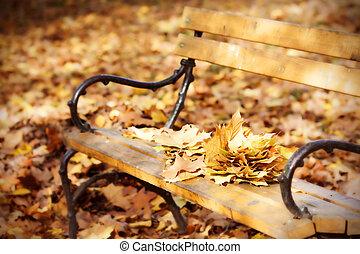 jesień, ława, park, drewniany