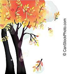jesień, akwarela, styl, drzewo, tło