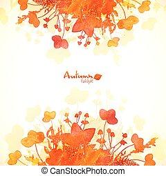 jesień, barwiony, liście, akwarela, tło, pomarańcza