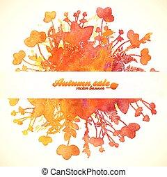 jesień, barwiony, liście, sprzedaż, akwarela, pomarańcza, chorągiew