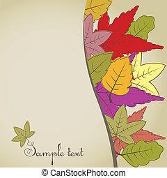 jesień, brązowy, background.vector