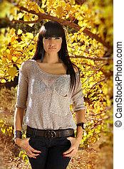 jesień, brunetka, kobieta, fason, outdoors, portrait.
