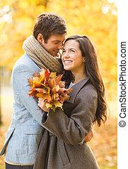 jesień, całowanie, para, park, romantyk
