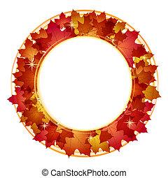jesień, chorągiew, leaves.