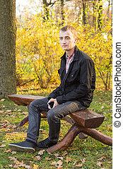 jesień, człowiek, park, młody, przystojny