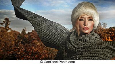 jesień, dama, chodząc, cielna, szalik