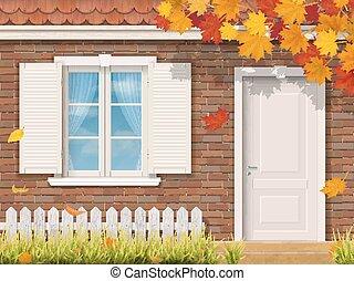 jesień, dom, front, cegła, pora