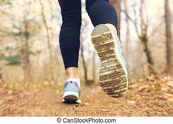jesień, drewna, jogging, kobieta, zmierzch