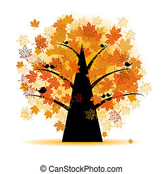 jesień, drzewo, liść, klon, upadek
